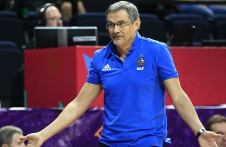 Russia's coach Sergey Bazarevich reacts during their Eurobasket European Basketball Championship Group D match against Belgium, in Istanbul, Monday, Sept. 4, 2017. (AP Photo/Lefteris Pitarakis)