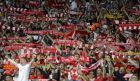 Liverpool fans hold up their scarfs prior to the Champions League Final soccer match between Real Madrid and Liverpool at the Olimpiyskiy Stadium in Kiev, Ukraine, Saturday, May 26, 2018. (AP Photo/Efrem Lukatsky)