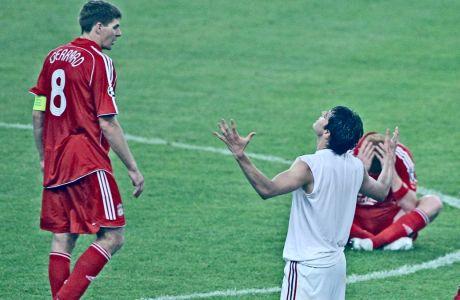 Ο Κακά της Μίλαν πανηγυρίζει τη νίκη επί της Λίβερπουλ του Στίβεν Τζέραρντ στον τελικό Champions League 2006-2007, στο Ολυμπιακό Στάδιο της Αθήνας, Τετάρτη 23 Μαΐου 2007