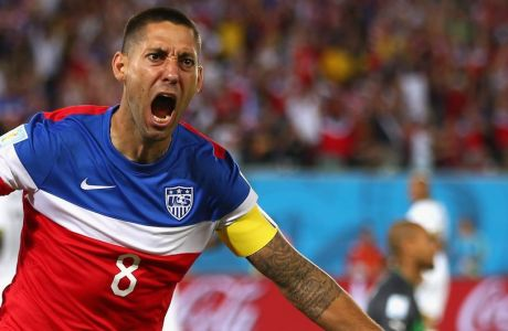 NATAL, BRAZIL - JUNE 16:  Clint Dempsey of the United States reacts after scoring his team's first goal during the 2014 FIFA World Cup Brazil Group G match between Ghana and the United States at Estadio das Dunas on June 16, 2014 in Natal, Brazil.  (Photo by Michael Steele/Getty Images)