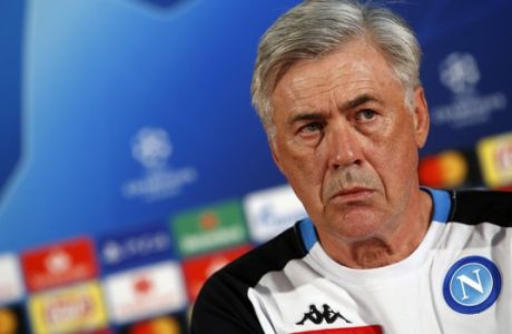 Napoli coach Carlo Ancelotti listens to a question during a press conference prior to the Champions League group C soccer match between Red Star and Napoli, in Belgrade, Serbia, Monday, Sept. 17, 2018. Napoli will face Red Star on Tuesday, Sept.18. (AP Photo/Darko Vojinovic)