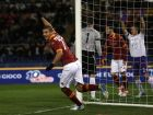 AS Roma midfielder Panagiotis Tachtsidis of Greece celebrates after making the assist for first goal during a Serie A soccer match between AS Roma and Fiorentina at Rome's Olympic stadium, Saturday, Dec. 8, 2012.  (AP Photo/Alessandra Tarantino)