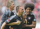 Bayern's Bastian Schweinsteiger, from left, Franck Ribery of France, Philipp Lahm and Dante of Brazil celebrate after scoring challenge for the ball during the German first division Bundesliga soccer match between VfL Borussia Moenchengladbach  and Bayern Munich in Moenchengladbach, Germany, Saturday, May 18, 2013. (AP Photo/Frank Augstein)