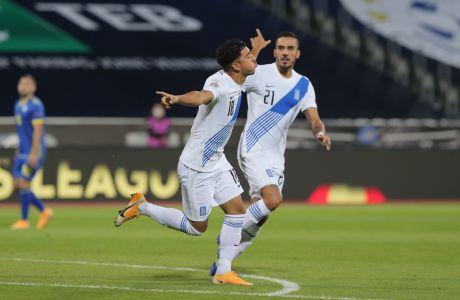 Ο Δημήτρης Λημνιός της Ελλάδας πανηγυρίζει με τον Δημήτρη Κουρμπέλη γκολ που σημείωσε κόντρα στο Κόσοβο για τους ομίλους του Nations League 2020-2021 στο 'Φαντίλ Βόκρι', Πριστίνα | Κυριακή 6 Σεπτεμβρίου 2020