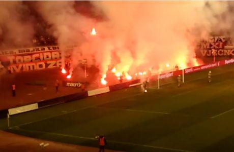 """""""Κάηκε"""" το γήπεδο στο ντέρμπι Χάιντουκ - Ντιναμό"""