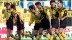 Πανηγυρικό στιγμιότυπο μετά από γκολ της ΑΕΚ στη νίκη με 4-2 επί της Νάουσας στην Α' Εθνική 1993-1994 (06/03/1994)