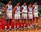 H βασική πεντάδα της Εθνικής Εφήβων στο Μουντομπάσκετ της Αθήνας (1995)