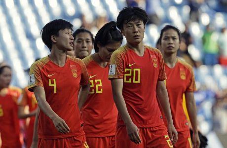 Διεθνείς παίκτριες της Κίνας μετά τον αποκλεισμό από την Ιταλία στο Παγκόσμιο Κύπελλο του 2019