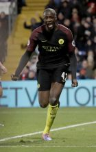Manchester City's Yaya Toure celebrates scoring his side's second goal during the English Premier League soccer match between Crystal Palace and Manchester City at Selhurst Park stadium in London, Saturday, Nov. 19, 2016. (AP Photo/Matt Dunham)