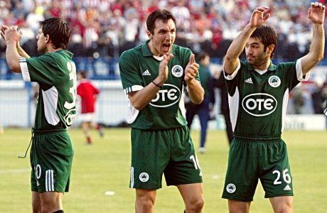 Τάκης Φύσσας, Σωτήρης Κυργιάκος και Γιώργος Καραγκούνης λίγο πριν τη σέντρα του Ολυμπιακός-Παναθηναϊκός, τον Μάιο του 2003, στη Ριζούπολη
