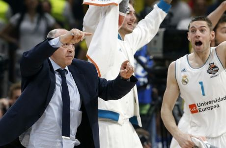 Real Madrid head coach Pablo Laso reacts during their Final Four Euroleague final basketball match between Real Madrid and Fenerbahce in Belgrade, Serbia, Sunday, May 20, 2018. (AP Photo/Darko Vojinovic)