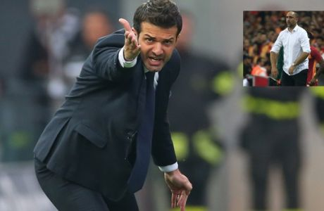 Udinese coach Andrea Stramaccioni gives instructions to his players during a Serie A soccer match between Udinese and Milan at the Friuli Stadium in Udine, Italy, Saturday, April 25, 2015. (AP Photo/Paolo Giovannini)