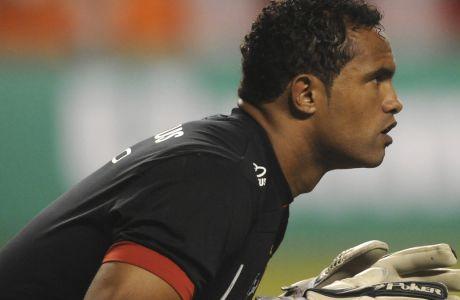 Ο Μπρούνο Φερνάντες ντε Σόουζα το 2010 καταδικάστηκε σε 22 χρόνια κάθειρξη για την δολοφονία της φίλης του. Εξέτισε το 1/3 της ποινής, βγήκε από την φυλακή και υπέγραψε στην Boa Esporte το 2017. (AP Photo/Felipe Dana, File)