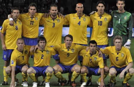 Players of Sweden's national soccer team (upper row from left to right: Anders Svensson, Johan Elmander, Olof Mellberg, Daniel Majstorovic, Zlatan Ibrahimovic and Andreas Isaksson, lower row left to right: Samuel Holmen, Mikael Nilsson, Kim Kallstrom, Behrang Safari and Rasmus Elm) line up before their World Cup group?1?qualifying soccer match?aganst Hungary at the Puskas Stadium,?in Budapest, Hungary, Saturday?Sept. 5, 2009. (AP Photo/Bela Szandelszky)