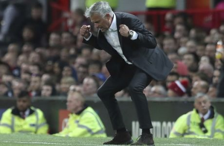 Manchester United's manager Jose Mourinho reacts in frustration during the English Premier League soccer match between Manchester United and Leicester City at Old Trafford, in Manchester, England, Friday, Aug. 10, 2018. (AP Photo/Jon Super)