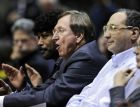 New Jersey Nets president Rod Thorn reacts as he watches with owner Bruce Ratner, right, during the third quarter of an NBA basketball game against the Washington Wizards  Friday, Feb. 20, 2009, in East Rutherford, N.J. The Wizards beat the Nets 107-96. (AP Photo/Bill Kostroun)