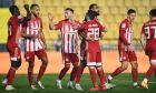 Παίκτες του Ολυμπιακού πανηγυρίζουν γκολ που σημείωσαν κόντρα στον Παναιτωλικό για τη Super League Interwetten 2020-2021 στο Γήπεδο Παναιτωλικού | Σάββατο 9 Ιανουαρίου 2021