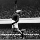 ** FILE ** Manchester City goalkeeper Bernd 'Bert' Trautmann saves from an arsenal attack at Highbury Nov. 22, 2008. Trautmann was keeper of British soccer club Manchester City from 1949 until 1964. He will turn 85 on Wednesday, Oct. 22, 2008. (AP Photo)