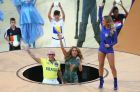 SAO PAULO, BRAZIL - JUNE 12:  (L-R) Singers Pitbull, Jennifer Lopez and Claudia Leitte perform during the Opening Ceremony of the 2014 FIFA World Cup Brazil prior to the Group A match between Brazil and Croatia at Arena de Sao Paulo on June 12, 2014 in Sao Paulo, Brazil.  (Photo by Elsa/Getty Images)