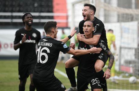 Παίκτες του ΟΦΗ πανηγυρίζουν γκολ εναντίον του Παναθηναϊκού για τη Super League Interwetten 2020-2021 στο 'Θεόδωρος Βαρδινογιάννης' | Κυριακή 18 Οκτωβρίου 2020