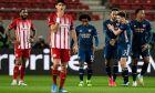 Οι παίκτες της Άρσεναλ πανηγυρίζουν ένα από τα τέρματα που πέτυχαν στο 1-3 επί του Ολυμπιακού στο 'Γ. Καραϊσκάκης', για την φάση των 16 του Europa League | 12/03/2021