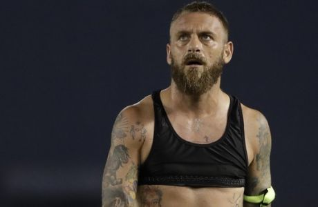 Roma midfielder Daniele De Rossi (16) after an International Champions Cup tournament soccer match against Tottenham Wednesday, July 25, 2018, in San Diego. (AP Photo/Gregory Bull)