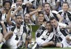 Juventus players celebrate winning an unprecedented sixth consecutive Italian title, at the end of the Serie A soccer match between Juventus and Crotone at the Juventus stadium, in Turin, Italy, Sunday, May 21, 2017. (AP Photo/Antonio Calanni)