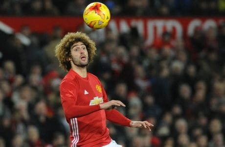 Manchester Uniteds Marouane Fellaini during the English League Cup, semifinal, 1st leg, match between Manchester United and Hull City at Old Trafford in Manchester, England, Tuesday Jan. 10, 2017. (AP Photo/Rui Vieira)