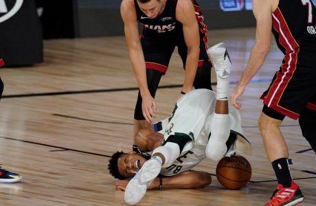 Ο Γιάννης Αντετοκούνμπο των Μιλγουόκι Μπακς σε στιγμιότυπο του της αναμέτρησης με τους Μαϊάμι Χιτ για το Game 4 των ημιτελικών της Δύσης για το NBA Playoffs 2019-2020 στο 'HP Field House', Φλόριντα | Παρασκευή 4 Σεπτεμβρίου 2020