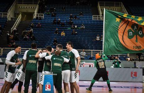 Παίκτες του Παναθηναϊκού ΟΠΑΠ πριν από την αναμέτρηση με τη Λάρισα για την ΕΚΟ Basket League 2019-2020 στο κλειστό του ΟΑΚΑ, Σάββατο 29 Φεβρουαρίου 2020