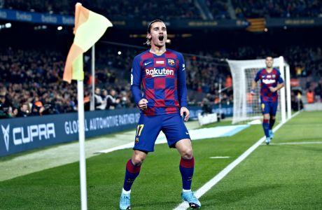 Ο Αντουάν Γκριεζμάν της Μπαρτσελόνα πανηγυρίζει γκολ που σημείωσε κόντρα στη Μαγιόρκα για την Primera Division 2019-2020 στο 'Καμπ Νόου', Βαρκελώνη, Σάββατο 7 Δεκεμβρίου 2019
