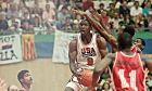 Στιγμιότυπο από την αναμέτρηση ΗΠΑ-Αγκόλα για το τουρνουά μπάσκετ των Ολυμπιακών Αγώνων της Βαρκελώνης (1992)