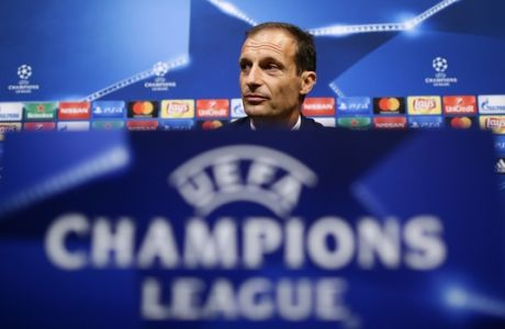 Juventus' coach Massimiliano Allegri attends a media conference at the Camp Nou stadium in Barcelona, Spain, Monday, Sept. 11, 2017. FC Barcelona will play against Juventus in a Champions League Group D soccer match on Tuesday. (AP Photo/Manu Fernandez)