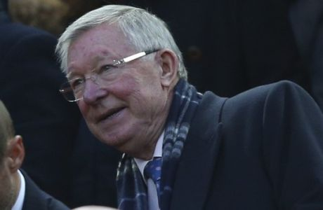 Sir Alex Ferguson sits in the stands ahead of the Champions League quarter final first leg soccer match between Liverpool and Manchester City at Anfield stadium in Liverpool, England, Wednesday, April 4, 2018. (AP Photo/Dave Thompson)