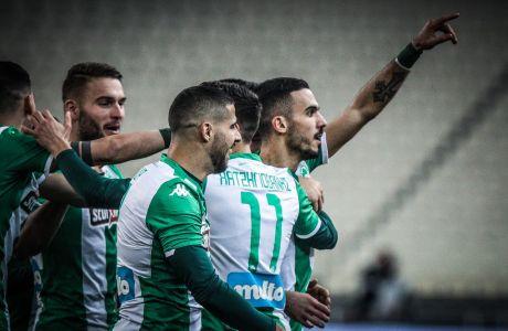 Οι παίκτες του Παναθηναϊκού πανηγυρίζουν γκολ κόντρα στον Ατρόμητο σε αναμέτρηση για τη Super League 1 2019-2020 στο Ολυμπιακό Στάδιο, Τετάρτη 22 Ιανουαρίου 2020