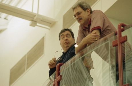 Chicago Bulls' coach Phil Jackson, right, and general manager Jerry Krause watch the play from above as the Bulls practice in Deerfield, Ill., May 1, 1995.  (AP Photo/Mike Fisher)