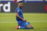 Zagreb's El Arabi Hilal Soudani reacts after missing a chance to score during the Champions League group H soccer match between Olympique Lyonnais and Dinamo Zagreb in Decines, near Lyon, central France, Wednesday, Sept. 14, 2016. (AP Photo/Thibault Camus)