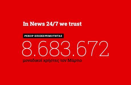 Ρεκόρ επισκεψιμότητας τον Μάρτιο για το NEWS 24/7