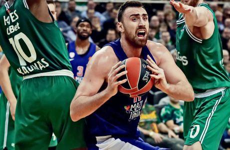 O Νίκολα Μιλουτίνοβ με 8 πόντους και 13 ριμπάουντ κυριάρχησε στην μάχη της ρακέτας, αλλά με την περιφέρεια του... απούσα, ο Ολυμπιακός συνετρίβη στην Zalgirio Arena με σκορ 94-69 από την Ζάλγκιρις για την 23η αγ. της Euroleague. ΦΩΤΟΓΡΑΦΙΑ: EUROKINISSI