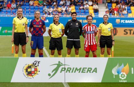Η σέντρα του πρόσφατου αγώνα της La Liga γυναικών μεταξύ Μπαρτσελόνα και Ατλέτικο Μαδρίτης. Πρώτη από αριστερά, η Ιραγκάρθε Φερνάντεθ