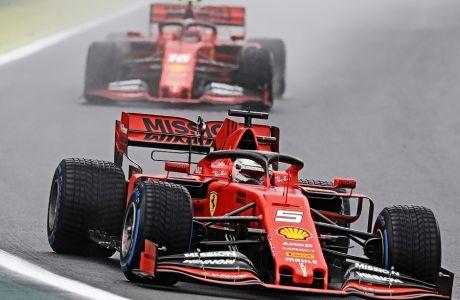 Οι Ferrari αποσύρθηκαν από το Grand Prix της Βραζιλίας, γιατί τρίτωσε το κακό μεταξύ των Σεμπάστιαν Φέτελ και Σαρλς Λεκλέρκ.