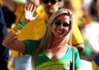 SAO PAULO, BRAZIL - JUNE 12:  A Brazil fan smiles before the Opening Ceremony of the 2014 FIFA World Cup Brazil prior to the Group A match between Brazil and Croatia at Arena de Sao Paulo on June 12, 2014 in Sao Paulo, Brazil.  (Photo by Warren Little/Getty Images)