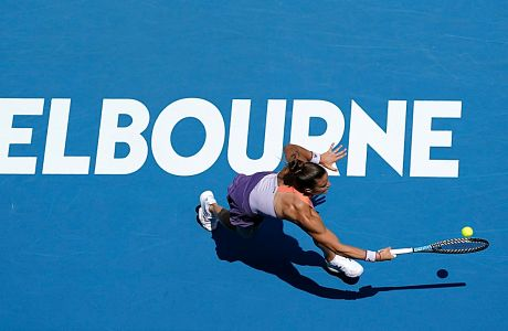 Η Μαρία Σάκκαρη σε στιγμιότυπο του αγώνα της με την Πέτρα Κβίτοβα για τον 4ο γύρο του Αυστραλιανού Όπεν στη 'Ροντ Λέιβερ Αρίνα', Μελβούρνη, Κυριακή 26 Ιανουαρίου 2020