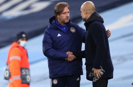 Μαρτίνς και Γκουαρδιόλα στο περιθώριο της αναμέτρησης Μάντσεστερ Σίτι - Ολυμπιακός 3-0, για την 3η αγ. των ομίλων του Champions League | 03/11/2020 (LATO KLODIAN / EUROKINISSI)