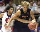 Yugoslavia's Predrag Stojakovic of the NBA's Sacramento Kings guards Germany's Dirk Nowitzki of the NBA's Dallas Mavericks during  group C match at the European Basketball Championship in Antalya, Turkey, Sunday Sept. 2 2001.  (AP Photo/Dusan Vranic)