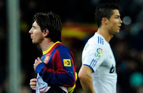 Ο Λιονέλ Μέσι της Μπαρτσελόνα και ο Κριστιάνο Ρονάλντο της Ρεάλ σε στιγμιότυπο για την Primera Division 2010-2011 στο 'Καμπ Νόου', Βαρκελώνη   Δευτέρα 29 Νοεμβρίου 2010