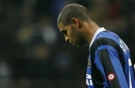 Ο Αντριάνο της Ίντερ σε στιγμιότυπο της αναμέτρησης με τη Ρετζίνα για τη Serie A 2006-2007 στο 'Τζιουζέπε Μεάτσα', Μιλάνο, Κυριακή 19 Νοεμβρίου 2006