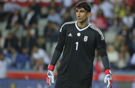 Iran's goalkeeper Alireza Safar Beiranvand during a friendly soccer match between Turkey and Iran, in Istanbul, Monday, May 28, 2018. (AP Photo)