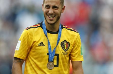 Belgium's Eden Hazard laughs after the third place match between England and Belgium at the 2018 soccer World Cup in the St. Petersburg Stadium in St. Petersburg, Russia, Saturday, July 14, 2018. (AP Photo/Natacha Pisarenko)