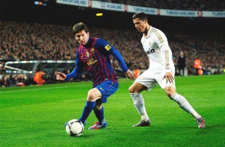 """Μέσι και Ρονάλντο σε αγώνα του ισπανικού Κυπέλλου στο """"Καμπ Νόου"""" (25/1/2012)."""